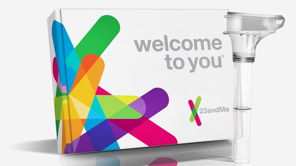 A photo of the the 23andMe at-home genetic test kit.