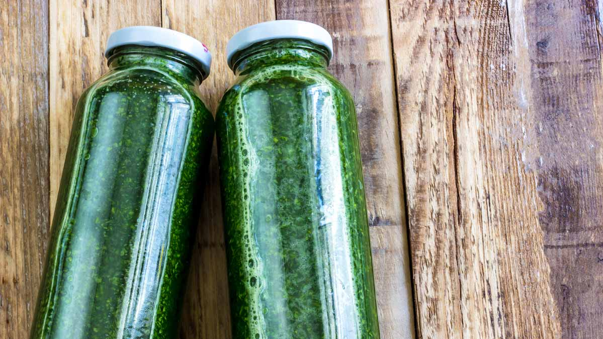 Two Bottles Of Green Juice