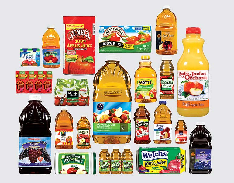 Photo of juice from bottles, cans, and juice boxes that Consumer Reports bought in three states.