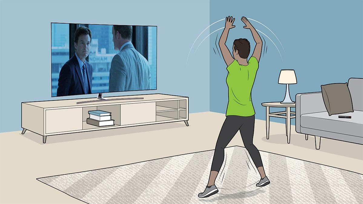 An illustration of an exercise for a binge-watch workout