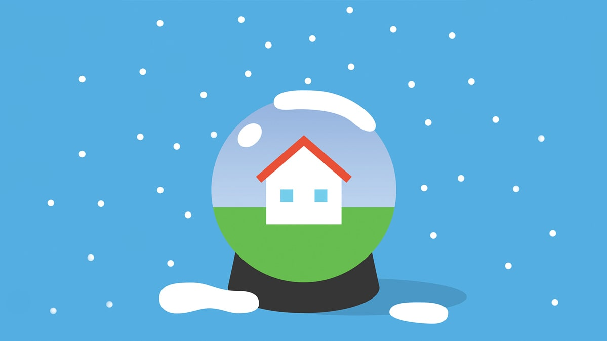 An illustration of a home inside a snow globe.