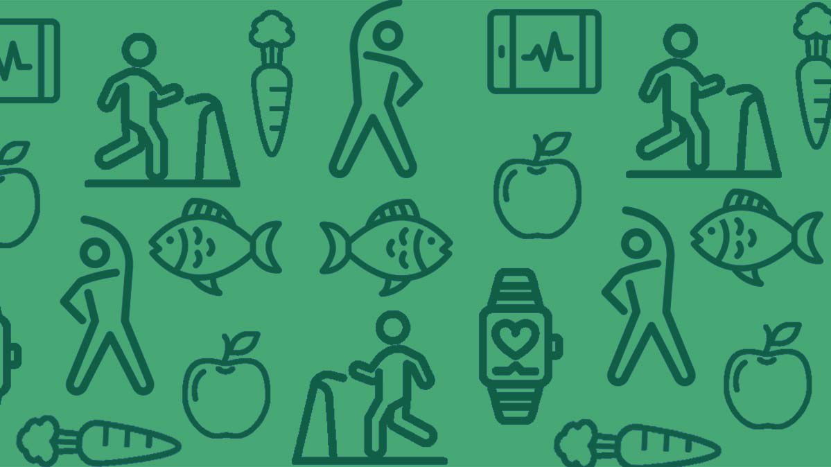 An illustration of heathy eating and exercise.