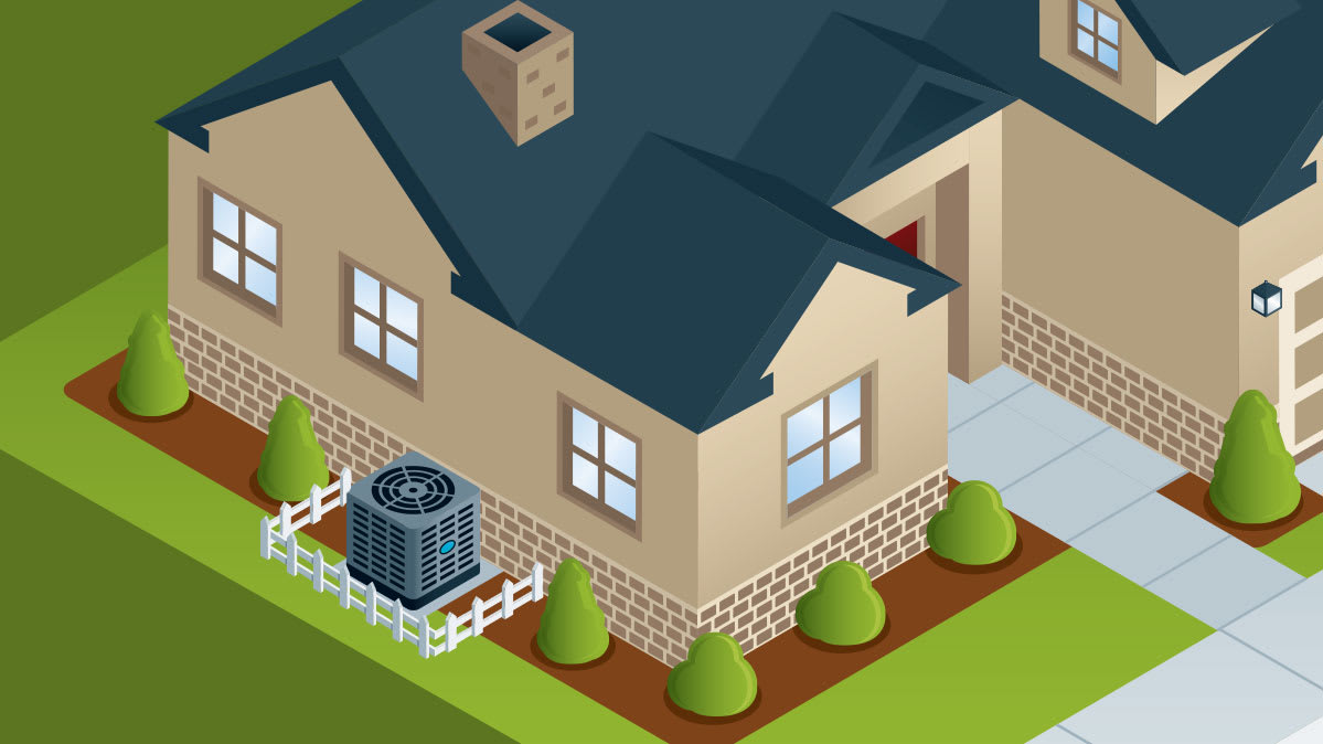 An illustration showing how to landscape around a central air conditioning unit