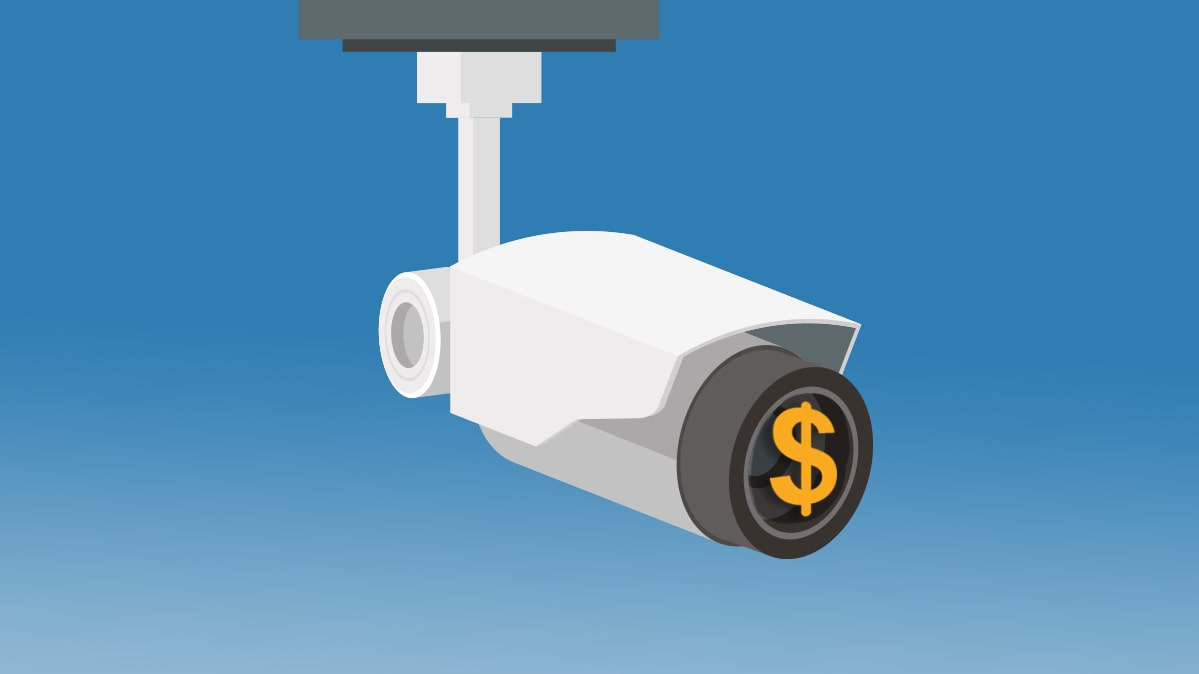 An illustration of a home security camera