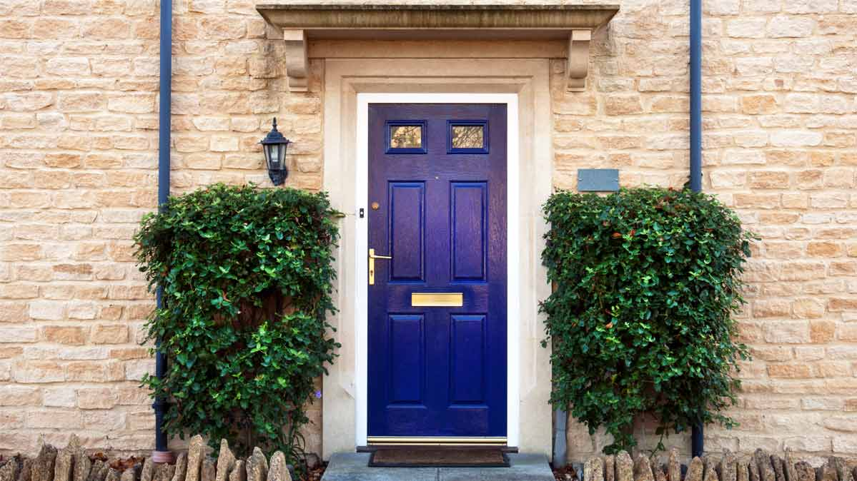 A Bright Purple Exterior Door Paint.