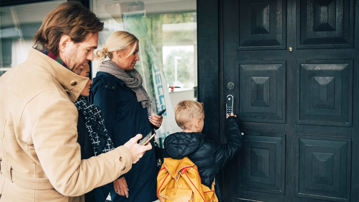 A family using a smart lock