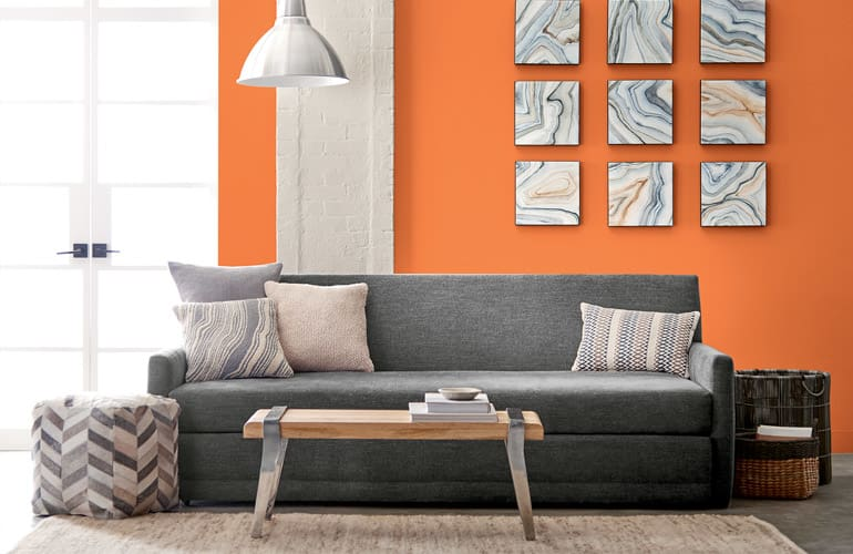 Valspar Orange Slice 2002 1B Creates A Sunny Backdrop For This Room