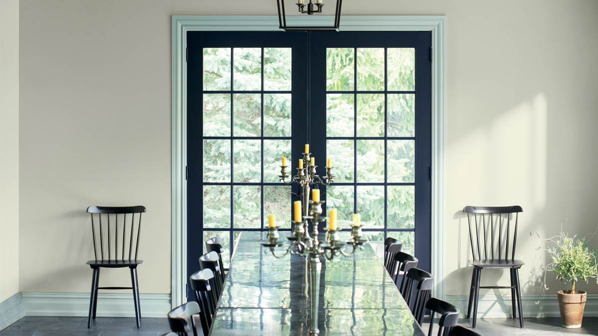 Benjamin Moore Metropolitan AF-690 was used on the walls of this dining room. & Hottest Interior Paint Colors of 2019 - Consumer Reports