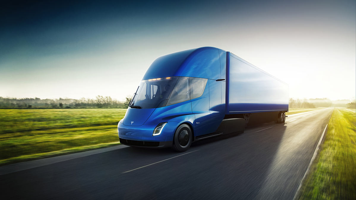 Tesla Self Driving Electric Tractor Trailer