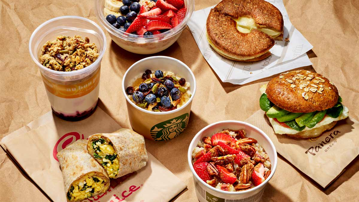We ate fast-food breakfasts at some of the biggest national chains, to see what healthy options exist. Pictured: A sampling of fast-food breakfast items.