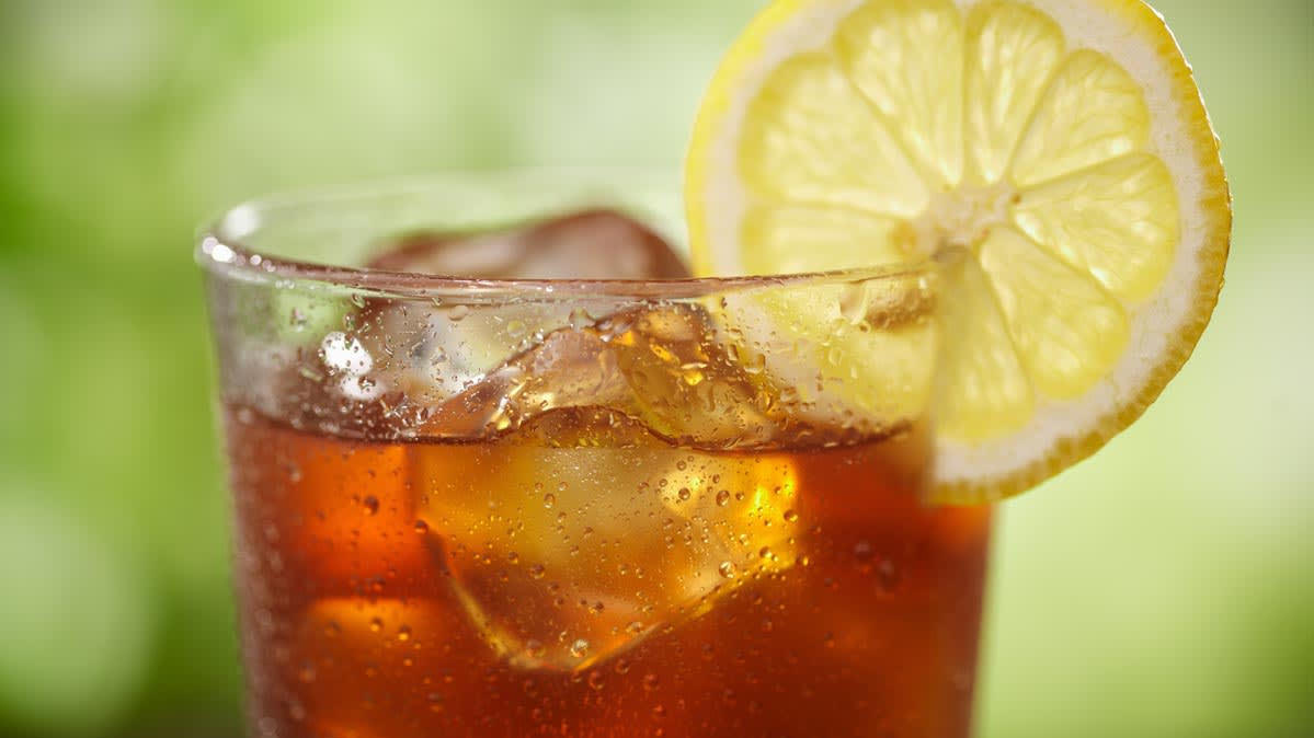 A glass of ice tea.
