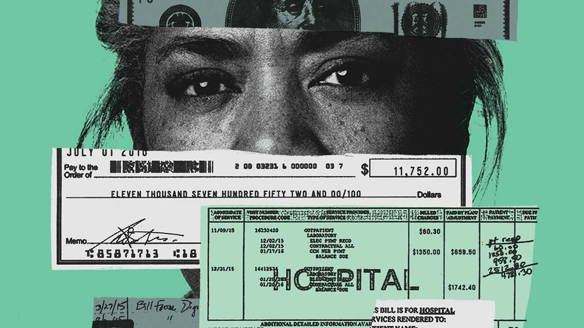 Photo illustration of a woman's face hemmed in by medical bills.