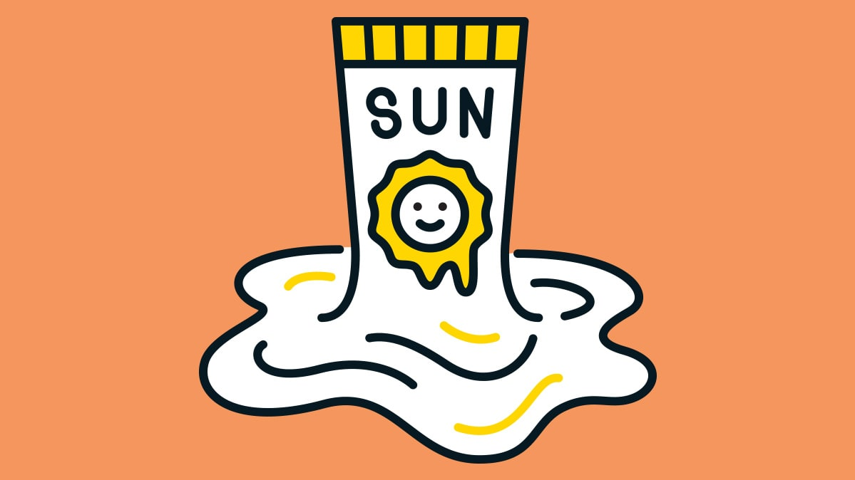 An illustration of a bottle of sunscreen.