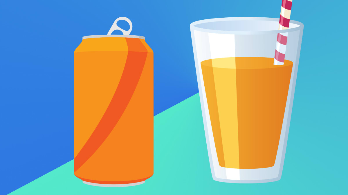 A can of soda and a glass of fruit juice.