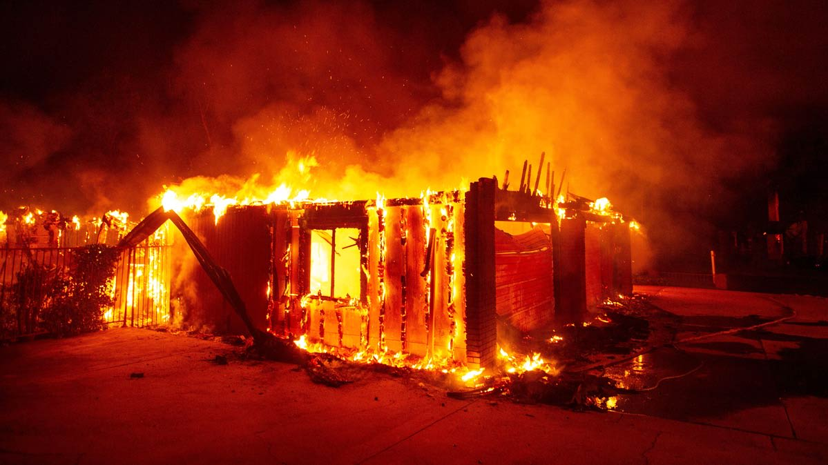 A house on fire during the California wildfires