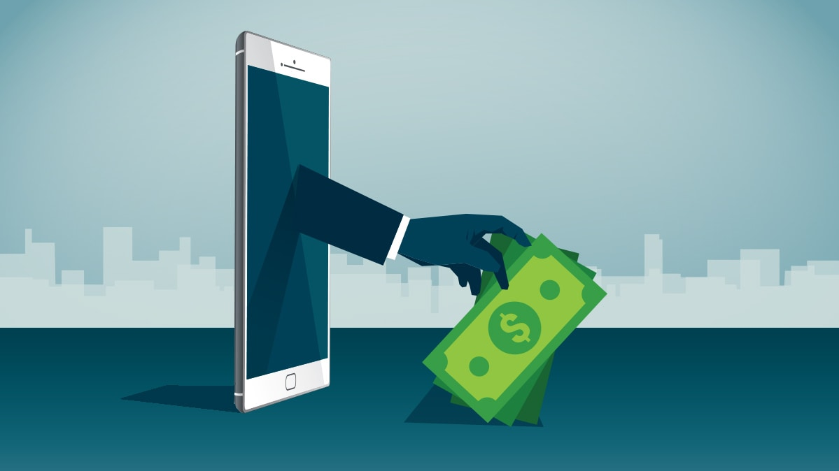 An arm reaching out of a smartphone and grabbing money.