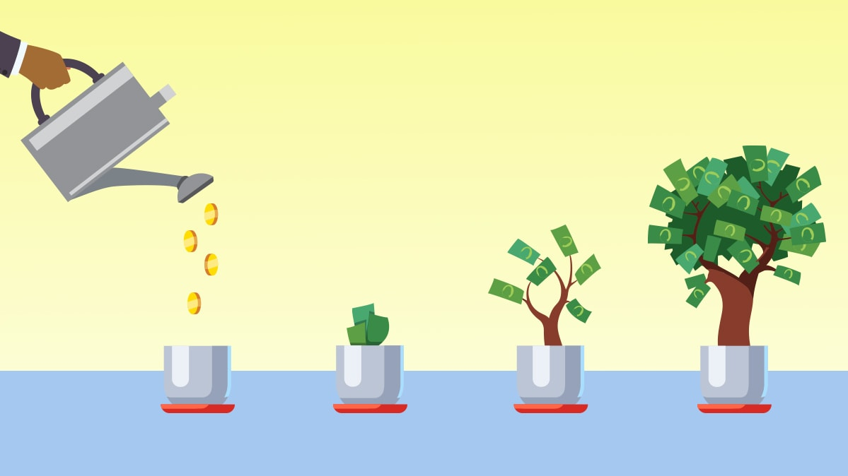 Illustration of a person watering trees that grow money