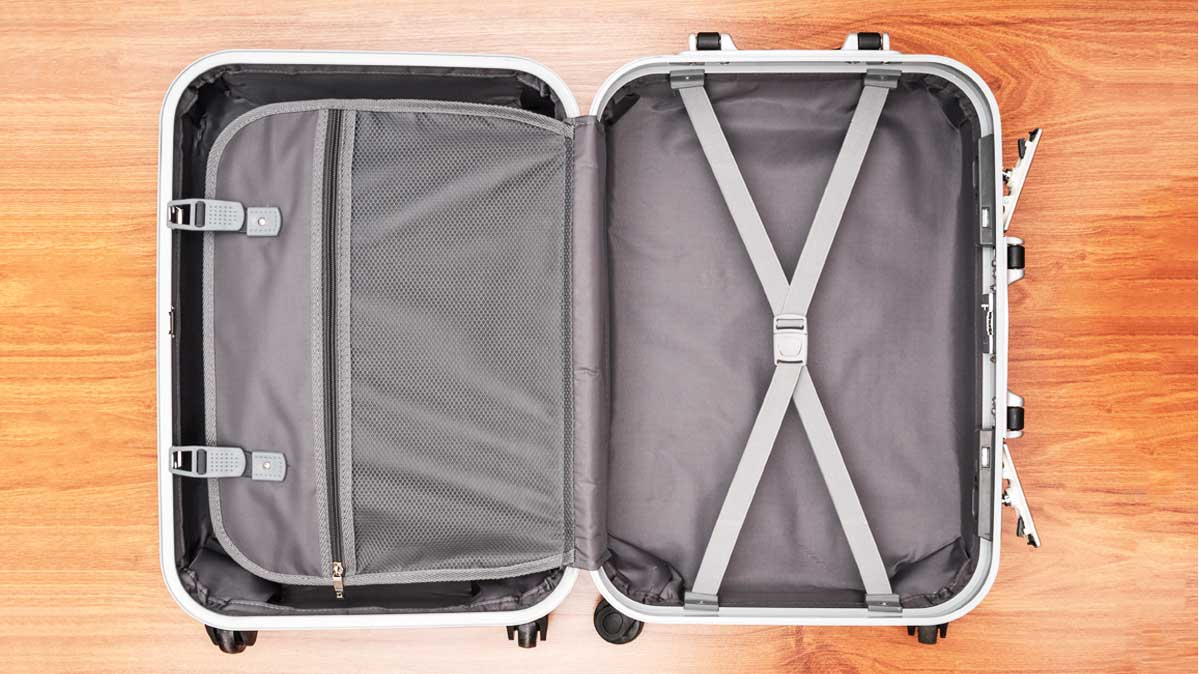 The interior of a piece of carry-on luggage.