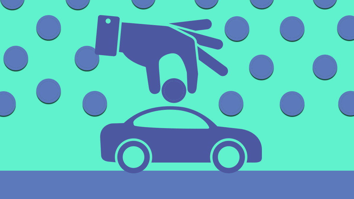 Illustration Of A Car Being Depicted As Piggy Bank And Person Putting Coins In