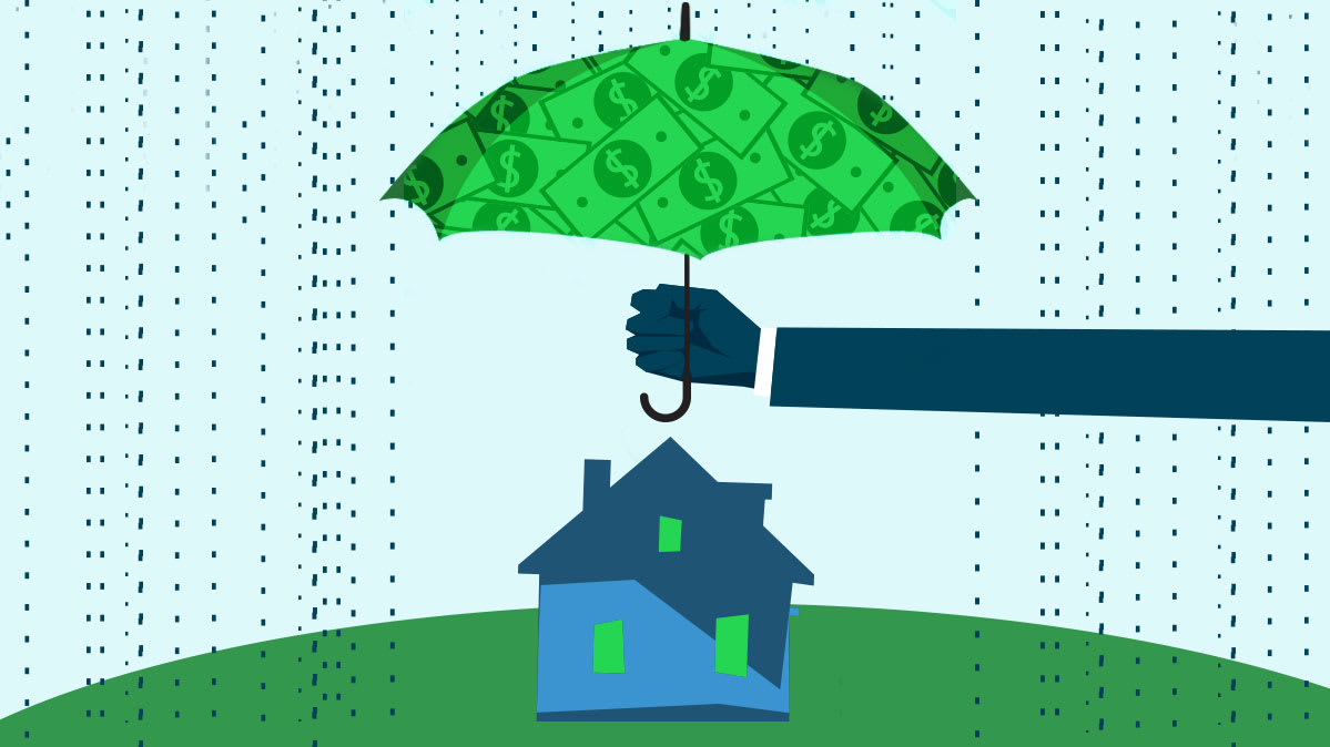 Illustration of an umbrella being held over a house