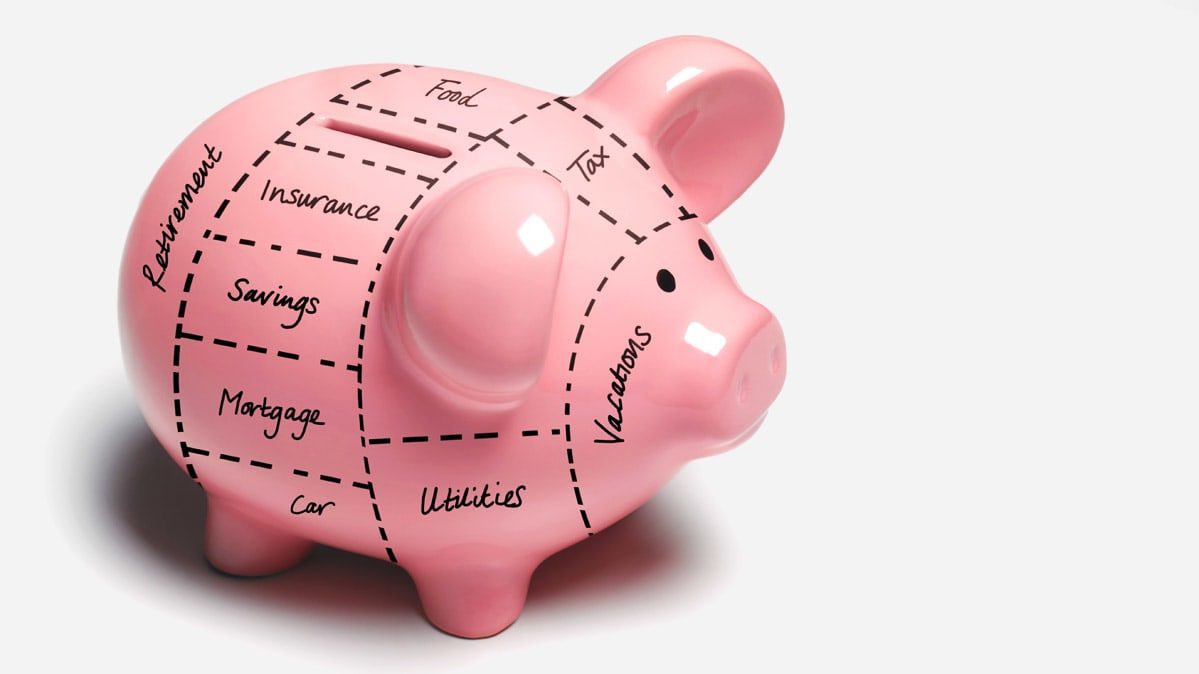 A piggy bank marked with budget items.