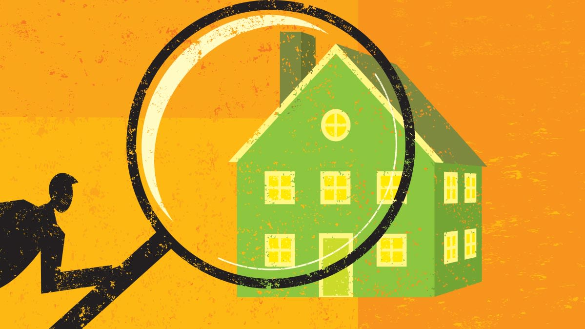 Illustration of a home under a magnifying glass for a home inspection