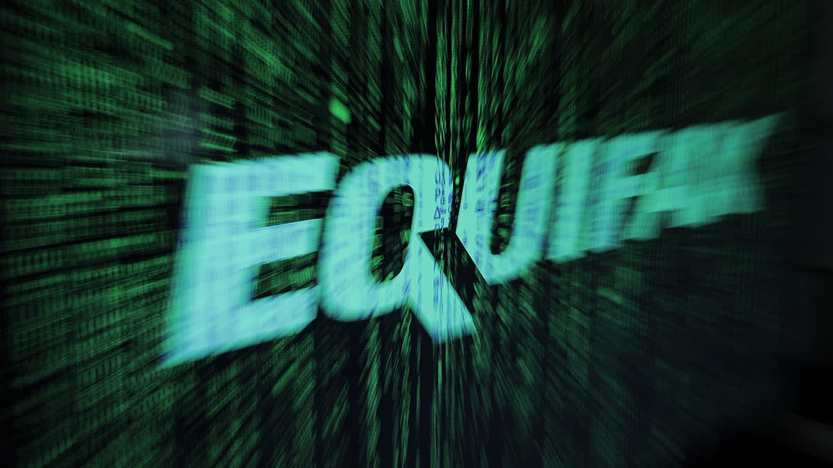 An Equifax logo on a digital display