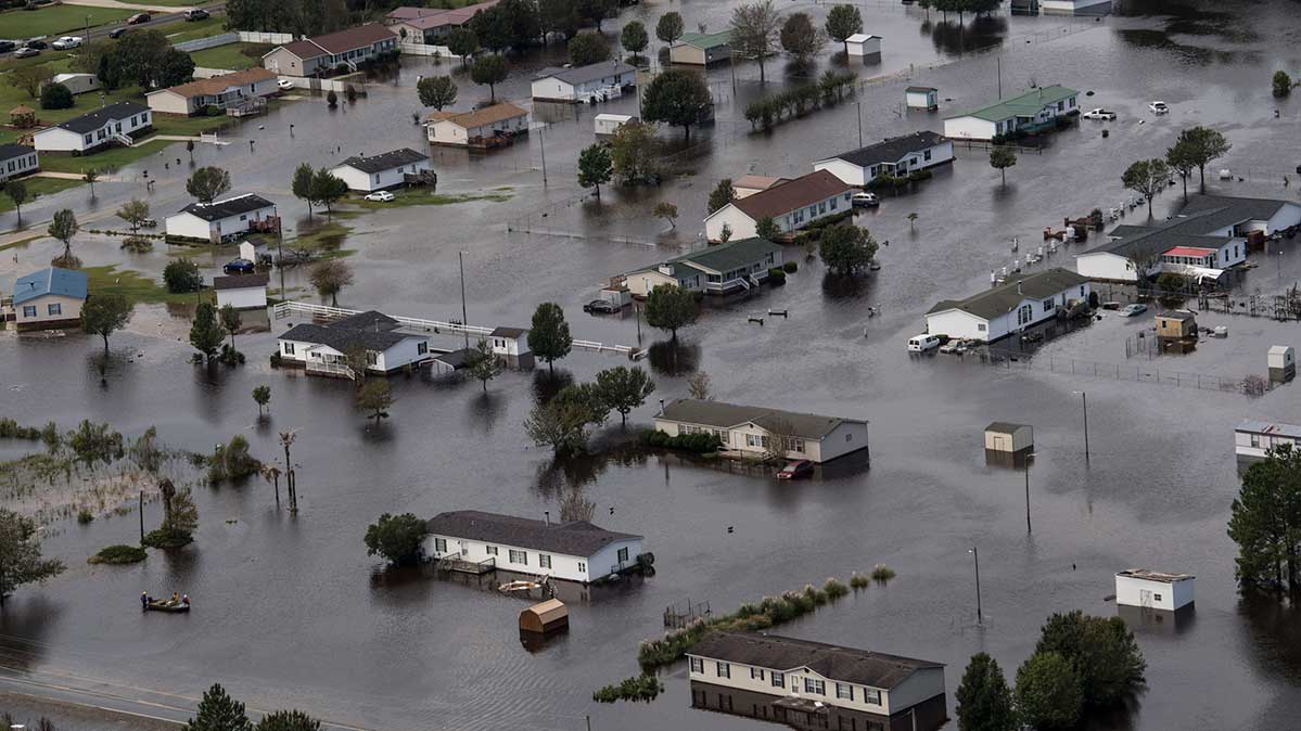 Flooding from natural disaster Hurricane Florence is seen in Lumberton, NC on September 17, 2018.