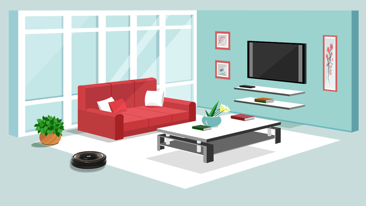 Illustration of a living room in a modern home