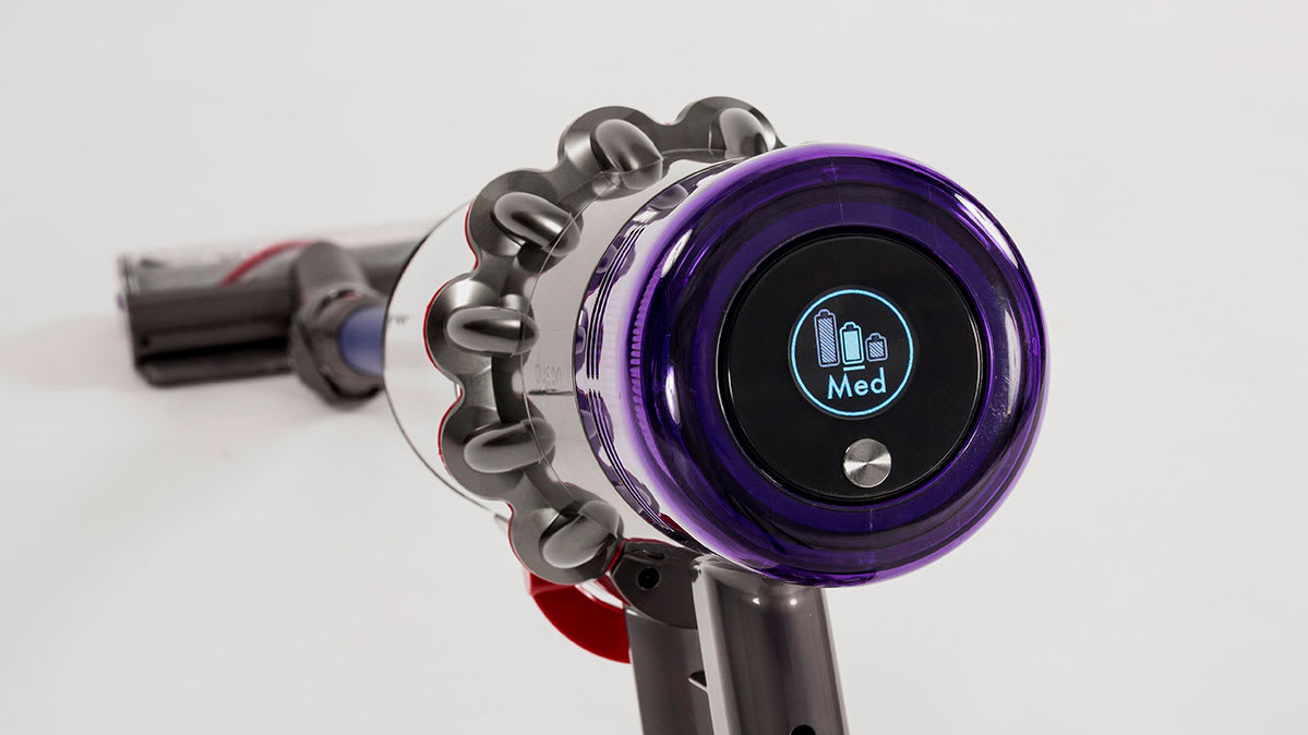 The LCD screen on the Dyson V11.