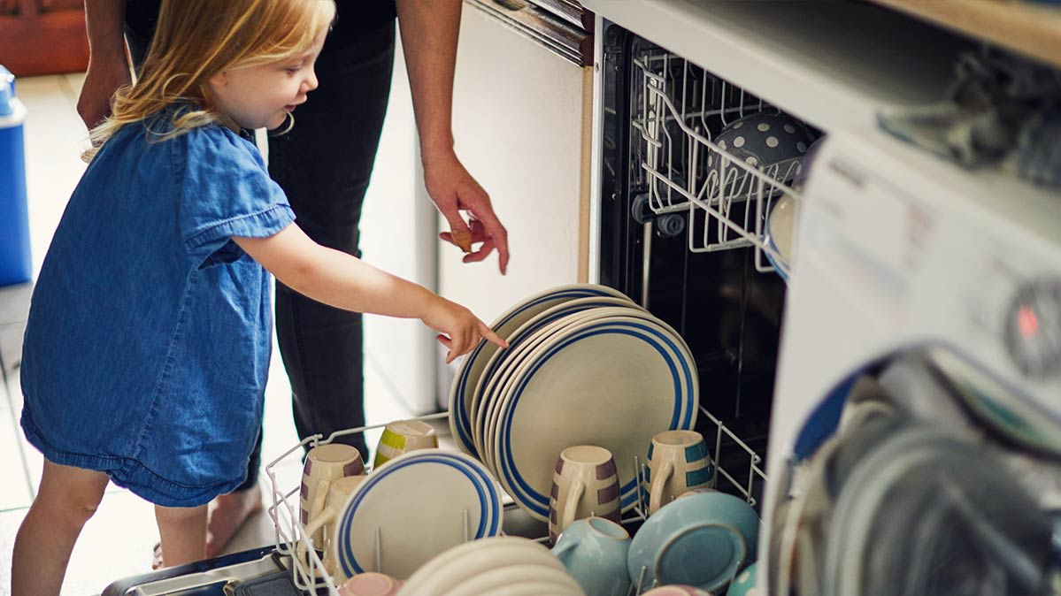 Dishwashers for young families include features such as child locks.