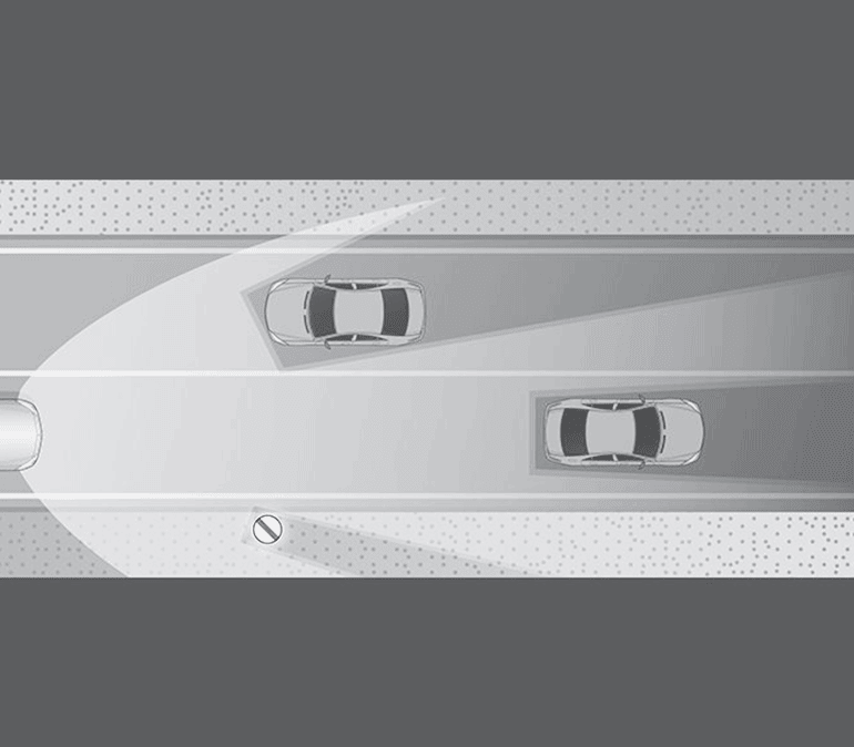 An illustration depicting how ADB headlights work