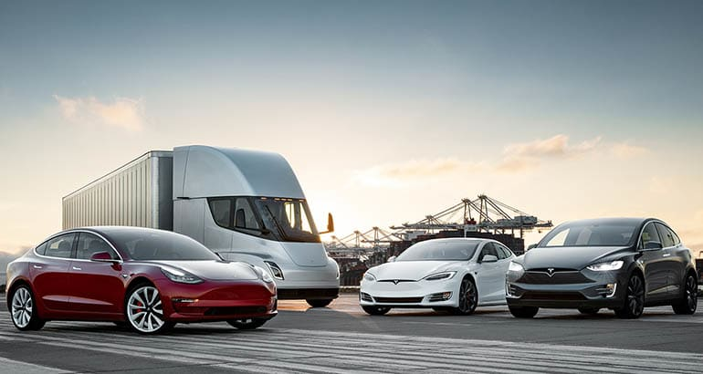 Tesla family of vehicles with Model 3, Semi, Model S, and Model X