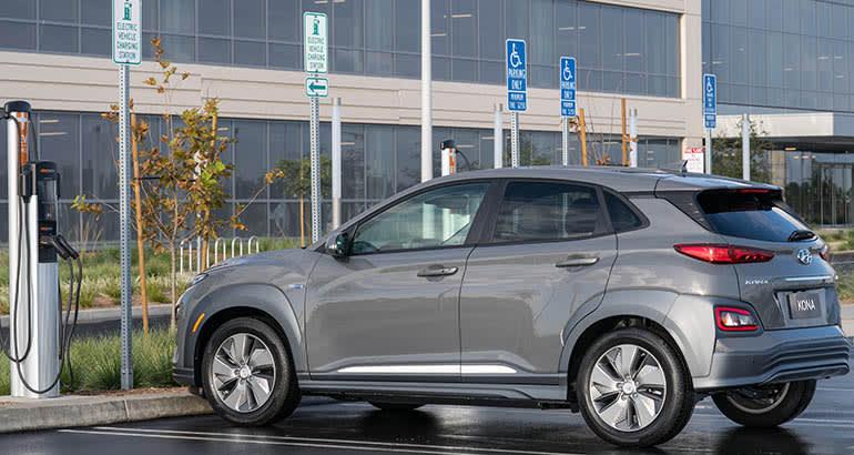2020 Hyundai Kona EV, an affordable electric car.