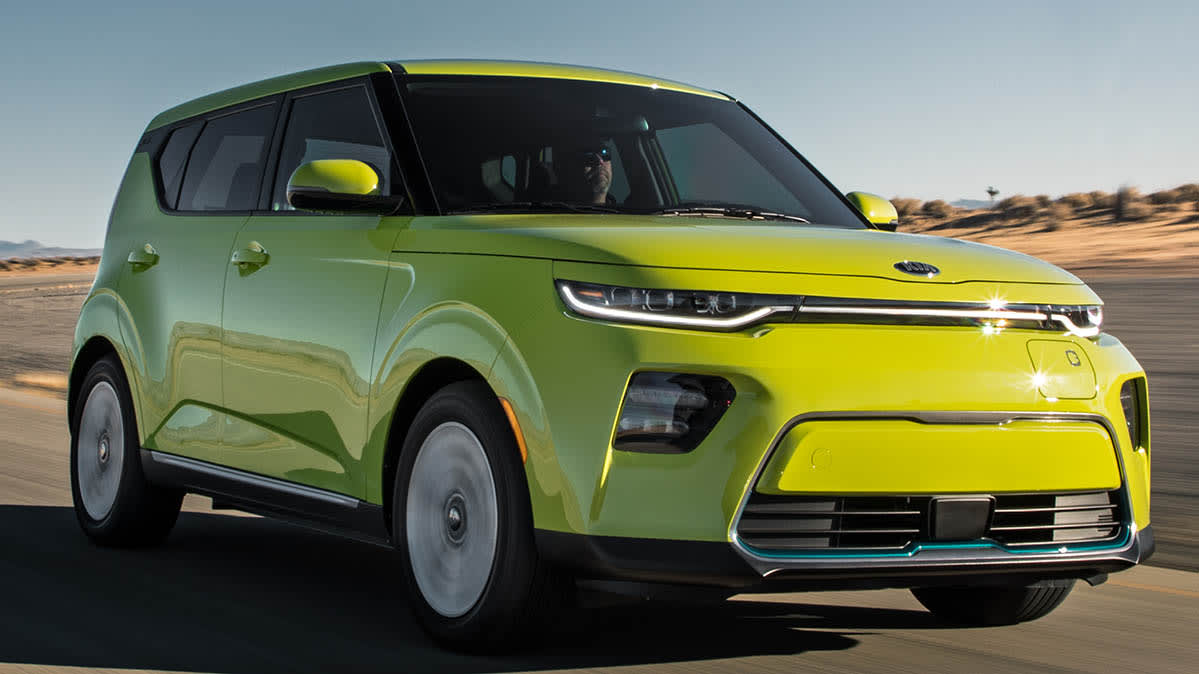 The 2020 Kia Soul EV, which is expected to be an affordable electric car.
