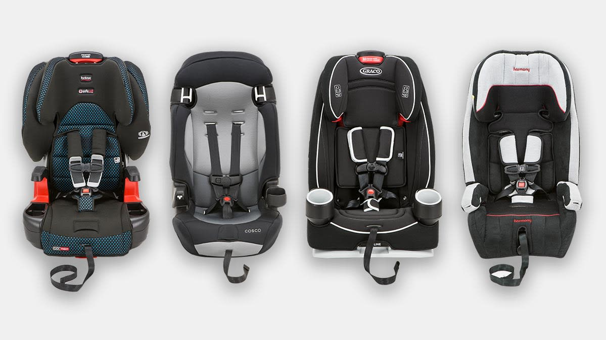 Child car seats from Britax, Cosco, Graco, and Harmony.
