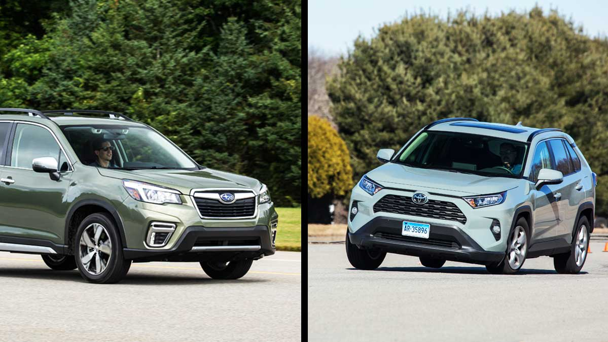 A split photo of the Subaru Forester (on the left) and the Toyota RAV4