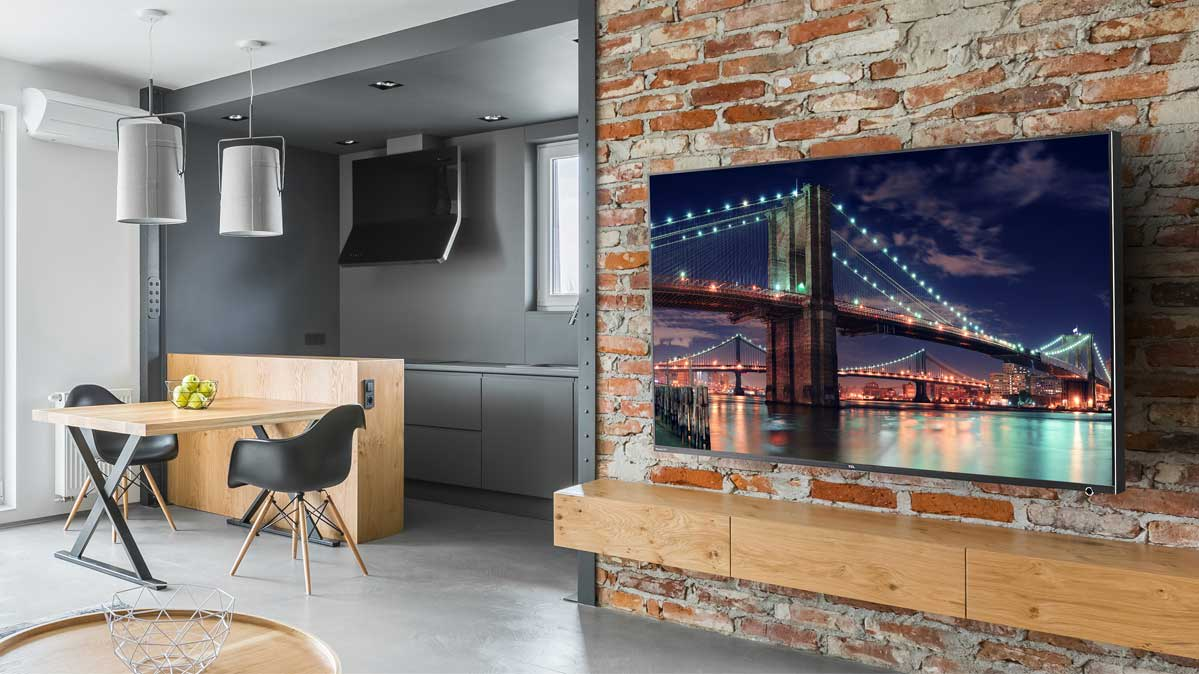 A modern living room with a 4K TV.