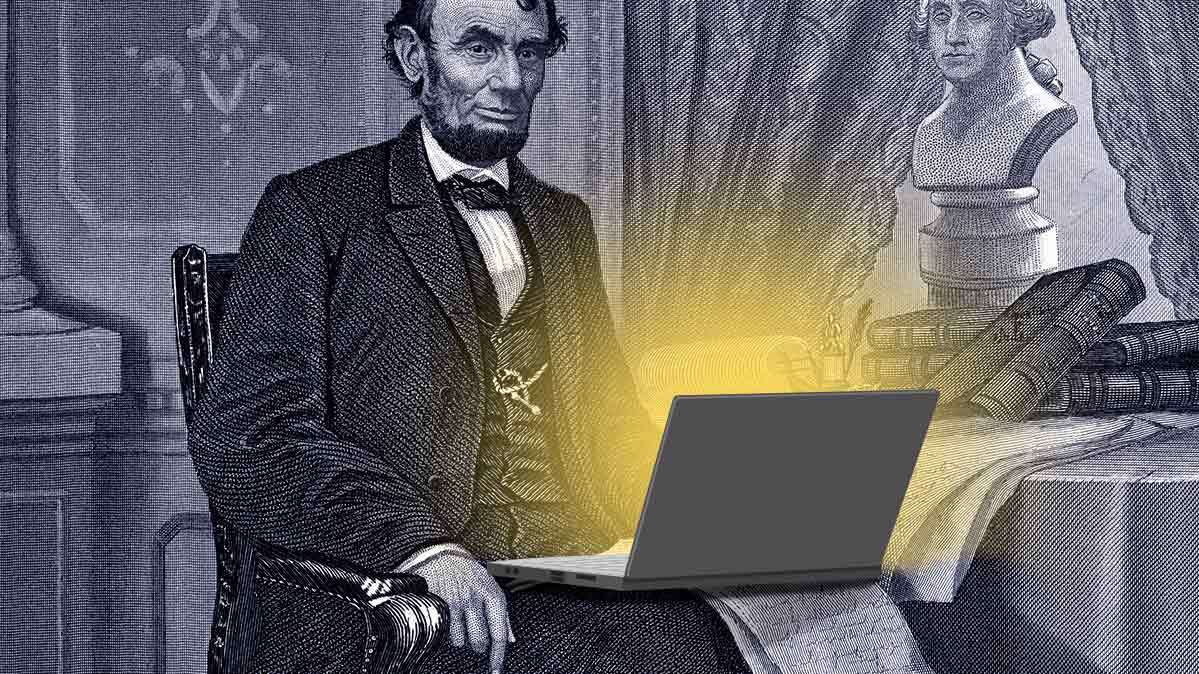 Abraham Lincoln with a laptop.
