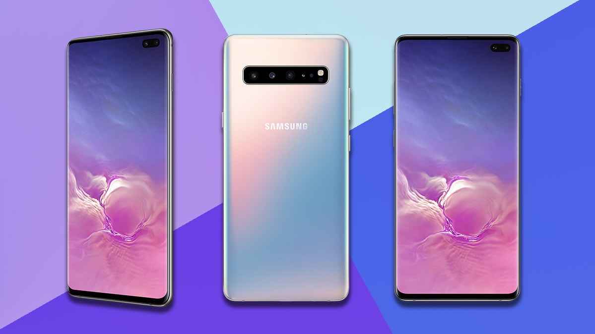 The new Samsung Galaxy S10 smartphone front and back.