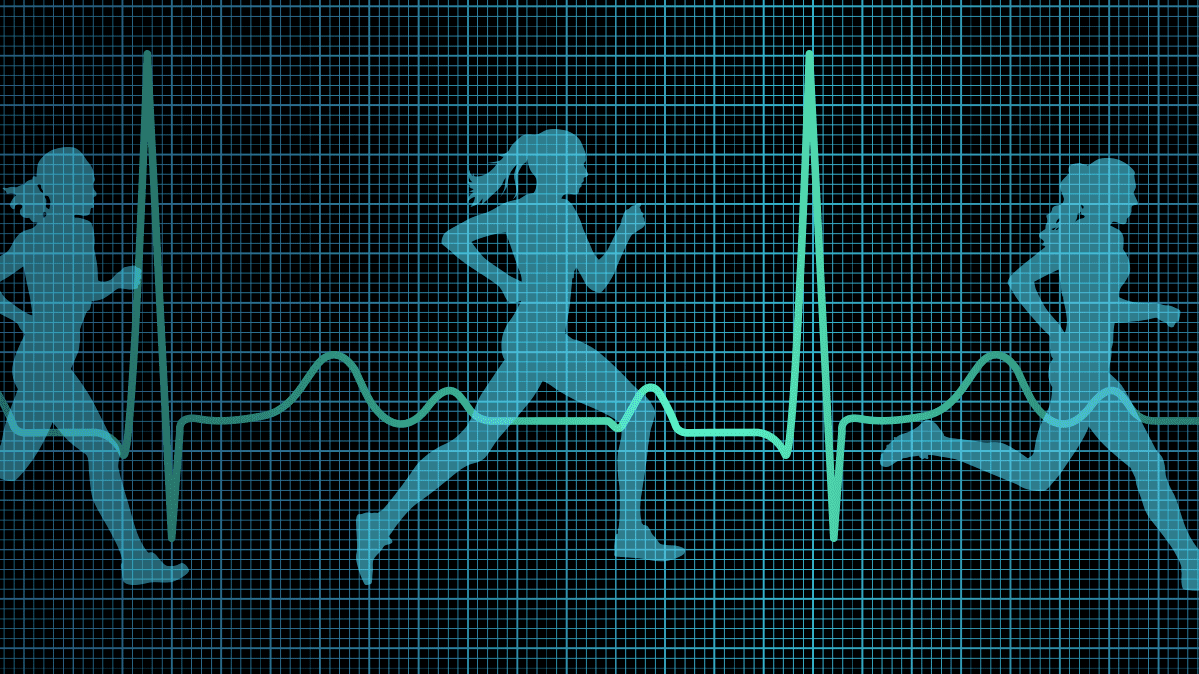 Illustrations of a woman running, with a chart showing target exercise heart rate.
