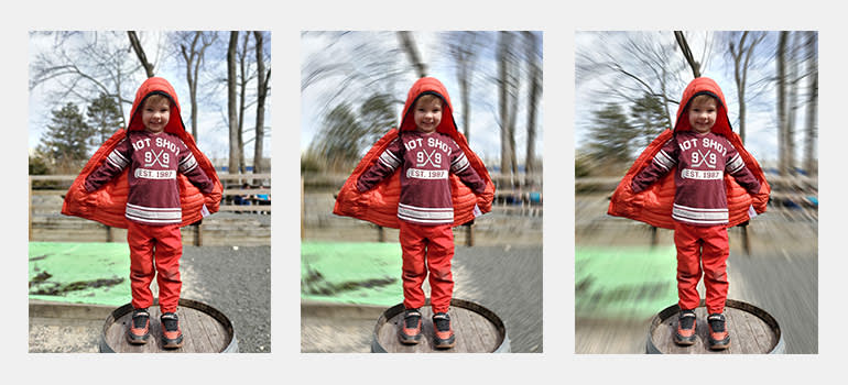 Photos takes by a Samsung Galaxy S10+ of a boy standing on a barrel.