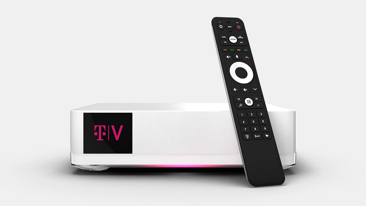 Photo of the T-Mobile TVision Home set-top box and remote control.