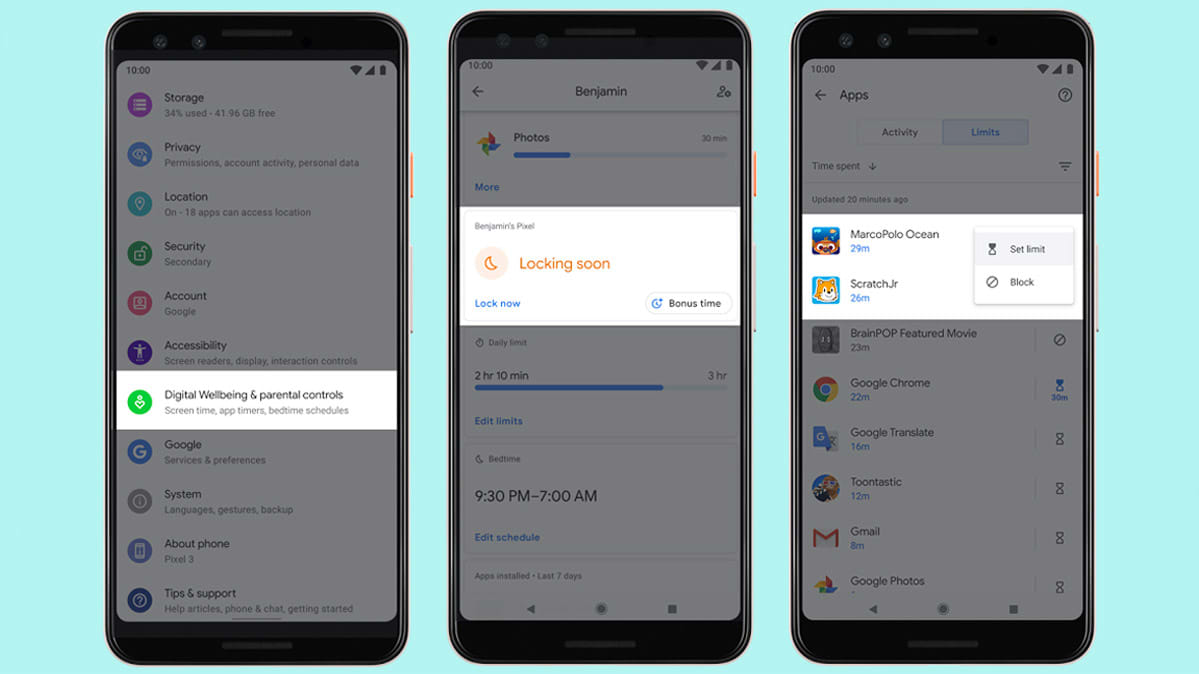 Android Q parental controls shown on Pixel 3a screens.