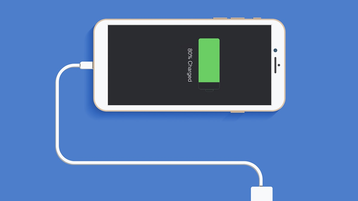 An illustration of a smartphone with its battery charged to 80 percent.