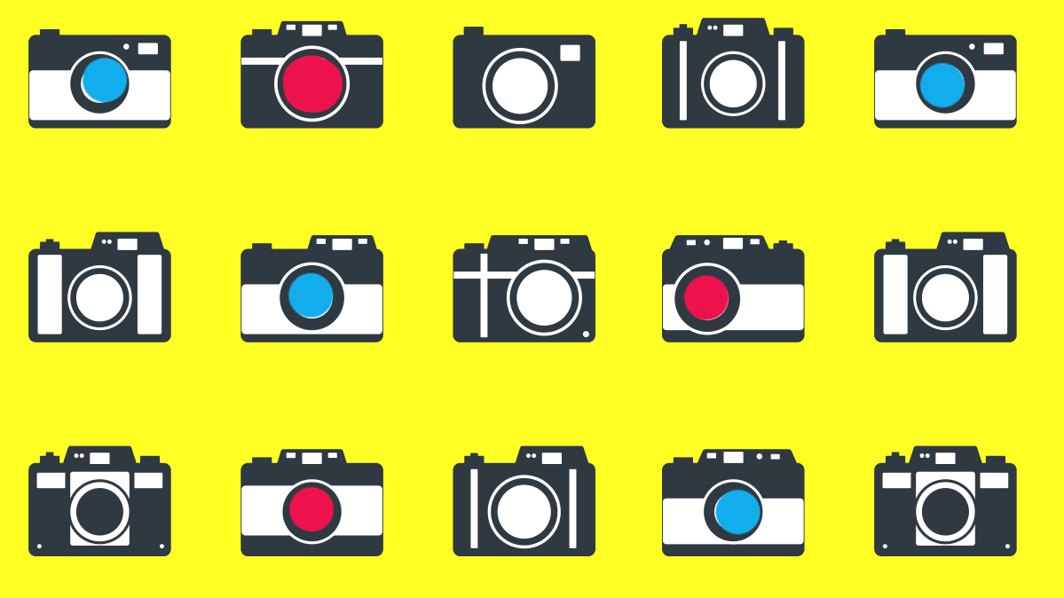 Illustration of 15 cameras on a yellow background, for an roundup of cameras under $300