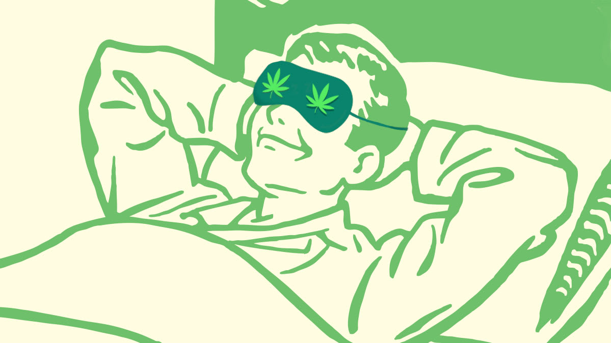 An illustration of a man sleeping with a pot-leaf eye mask