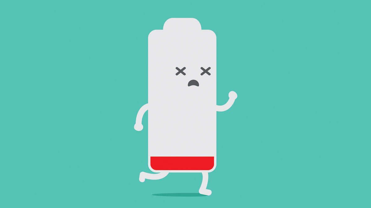 An illustration of a low battery running and looking sleepy