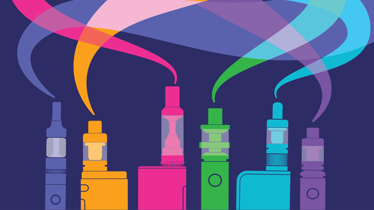An illustration of a collection of e-cigarette vape, such as that from a Juul.