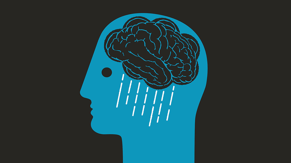 An illustration depicts a head containing a brain that is also a rain cloud.